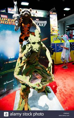 Rocket Raccoon and Groot made entirely of Lego at the Lego booth at Stock Photo, Royalty Free Image: 81937532 - Alamy