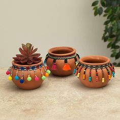 Set of 3 Terra Cotta Pots with Bohemian Decorative Accents – Tabletop Decoration Diwali Decoration Items, Thali Decoration Ideas, Diwali Decorations At Home, Festival Decorations, Diy Crafts Hacks, Diy Home Crafts, Jar Crafts, Diwali Craft, Diwali Diy
