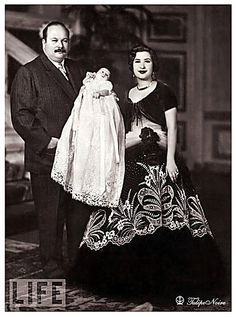 king Farouk I of Egypt With His Second Wife, Queen Nariman & Their Baby - March 1952