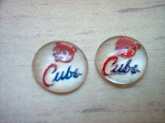 Cubs Baseball Vintage Glass Intaglio x 2