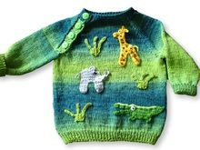 Baby Pullover /In Africa 🐆🐯🐒🐯🐆 Knitting Patterns Boys, Crochet Patterns Amigurumi, Baby Patterns, Crochet Bebe, Crochet For Boys, Knit Crochet, Fair Isle Knitting, Baby Sweaters, Kids Fashion