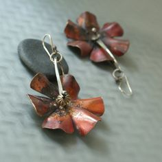 Copper Flower Spurs with Sterling by MetalLuxe on Etsy