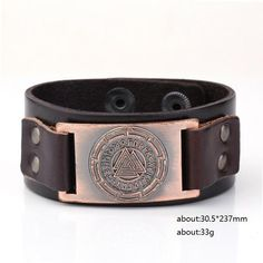 Brown Leather Bracelet with Odin's Symbol