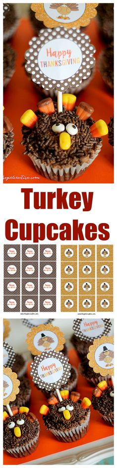 Turkey Cupcakes - an easy Thanksgiving dessert you can make with your kids.