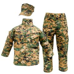 Marine Woodland Trooper Uniform Set: This military look 3 pc Digitized Marine Woodland Uniform comes… Marine Corps Uniforms, Marines Uniform, Military Uniforms, Camo Outfits, Trendy Outfits, Kids Outfits, Military Looks, Military Jacket, Marine Costume
