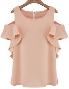 Pink Off the Shoulder Ruffle Chiffon Blouse pictures
