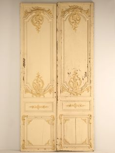 Pair Antique French Chateau Doors with Original Paint & Interior double doors with pyramid panels and bollection moulding ... Pezcame.Com