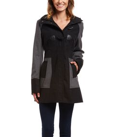 Look at this Black & Gray Toggle Coat on #zulily today!