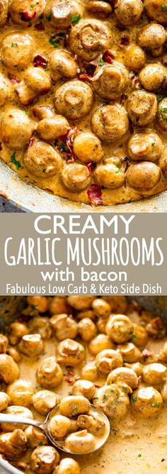 Deliciously Creamy Garlic Mushrooms with Bacon are a fabulous side dish prepared with butter garlic bacon and cream We love this easy delicious and quick dish that is also Low carb and Keto mushroomrecipes sauteedmushrooms sidedish via diethood Low Carb Side Dishes, Side Dishes Easy, Side Dish Recipes, Low Carb Recipes, Yummy Recipes, Cooking Recipes, Healthy Recipes, Keto Veggie Recipes, Garlic Recipes