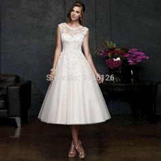 Plus Size Lace Tea Length Wedding Dresses 2016 Cap Sleeve Scoop Bridal Gowns Women Marriage Vestido branco curto de renda(China (Mainland))