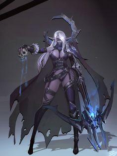 gothic; goth; character design; concept; art; artsy; skull; crossbow; drow; dark elf; elven; white; black;