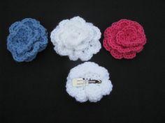 Crochet Korner Crocheted Flower Rose Hair Clip by CrochetKorner, $3.00