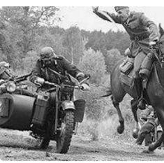 WW 2. Polish cavalry attack German motorcyclist.