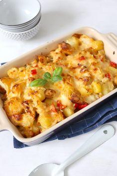 Bloemkool-ovenschotel met kip en krieltjes - Lekker en Simpel