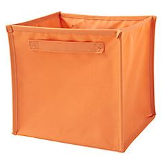 View larger image of I Think I Canvas Bright Orange Cube Bin