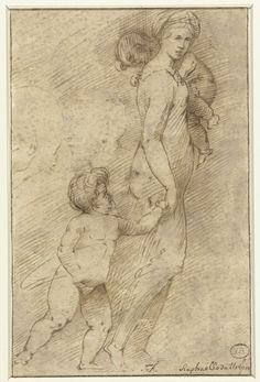 Rafaël | Twee hoofden van mannen naast een vrouw met kinderen, Rafaël, Anonymous, 1500 - 1620 | Lopende vrouw met een kind aan de rechterhand, een tweede op de linkerschouder. Links twee hoofden van mannen.