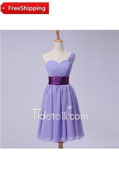 Celebrity A-line One Shoulder Short Chiffon Bridesmaid Dress