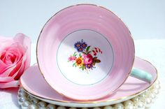 Lovely 1930s  Antique Pink Tea Cup English  Fine by EcoIdeology