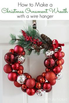 Save money this year with these DIY Dollar Store Christmas decorations! These Dollar Store Christmas Decor ideas are incredibly cute & easy! Christmas Ornament Wreath, Christmas Ornaments To Make, Christmas Crafts, Christmas Ideas, Ornament Wreath Hanger, Simple Christmas, Christmas Holidays, Wire Wreath, Cheap Christmas