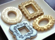 Sugar Bliss Bakery: Cookie frames. Cutters sold by Truly Mad Plastics