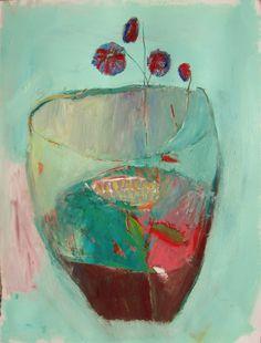 Blue Terrarium, Original oil painting on paper