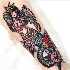 Seven Doors Tattoo, London Dani Queipo #traditional #mermaid #tattoo
