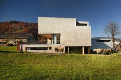 Built by Haller Jürgen ,Peter Plattner in Mellau, Austria with date Images by Albrecht Schnabel. The vision was a customised building, incorporating the impressive panorama at the foot of the Alps with a lifestyle . Outdoor Steps, Compact House, Modern Architecture House, First Time Home Buyers, Main Entrance, Detached House, Studio, Facade, Beautiful Homes