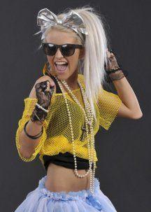 Ladies Neon Yellow 80s Fishnet Mesh Top