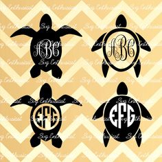 Turtle Monogram Frame SVG, Turtle SVG cut files, Cricut, Dxf, PNG, Vinyl, Eps, Clip Art, Vector, Monogram, Sayings, turtles silhouette by SVGEnthusiast on Etsy