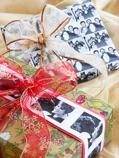 Picture Ribbon  Substitute black-and-white pictures of the family for ribbon or even wrapping paper. Print pictures on white paper and cut them into strips for ribbon, or print a photo collage to wrap a whole present.