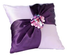 Radiant Purple Floral Wedding Ring Pillow - How Divine