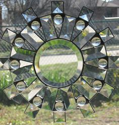 Items similar to Sunburst Clear Beveled Stained Glass Suncatcher on Etsy Stained Glass Panels, Stained Glass Art, Stained Glass Ornaments, Rainbow Star, Glass Animals, Beveled Glass, Suncatchers, Clear Glass, Snowflakes