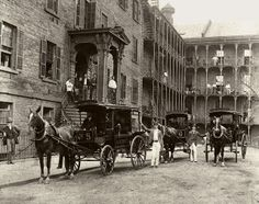 Vintage New York?: the first ambulance service ever started at Bellevue in 1869, thanks to the hospital's connections to the Civil War. The fleet of horse-drawn ambulances features a gong to get through busy streets and a container of brandy as an early reliever of pain. The railing of that spectacular entrance to the left was actually taken from the balcony of the demolished Federal Hall, where George Washington was sworn in as America's first president!