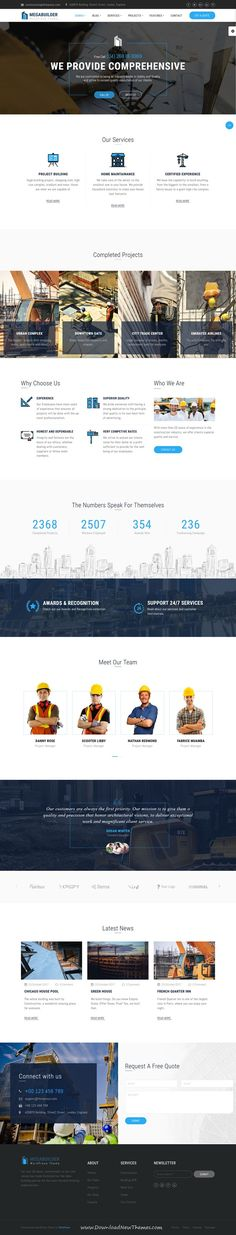 MegaBuilder is clean and modern design 3in1 responsive WordPress theme for #industry and #construction company website to live preview & download click on Visit  #webdesigns