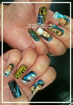 Star wars nail art with nail polish and acrylic paint! I hope, you enjoy them! Painted Nail Art, Hand Painted, Star Wars Nails, Disney Inspired Nails, Boards, Nail Polish, Facebook, Starwars, Painting