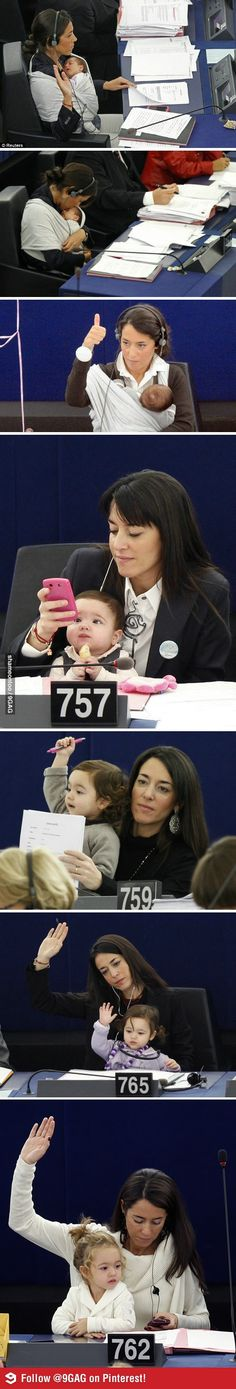 Italian representative to European Parliament Licia Ronzulli... brings daughter to work with her. My current inspiration. I can do this, I can do this, I can do this...