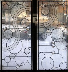 Stained Glass Window Panel--Arts and Crafts Style Circle Study Transom- x Stained Glass Door, Stained Glass Designs, Stained Glass Panels, Window Panels, Panel Doors, L'art Du Vitrail, Arts And Crafts Interiors, Arts And Crafts Storage, Verre Design