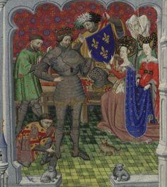 Clothilda presenting the Fleur-de-lis arms to Clovis: London, British Library, MS Additional 18850, f. 288v