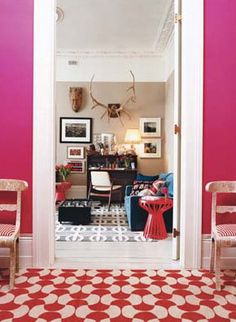 The owners of the Rug Company, Suzanne and Christopher Sharp's London home; Vogue, March interior design interior design 2012 decorating before and after decorating designs Interior Decorating, Interior Design, Decorating Ideas, Design Room, Modern Interior, Interior Styling, Rug Company, House Design Photos, Pink Walls