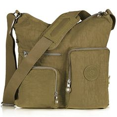 Oakarbo TGT Nylon Multi-Pocket Crossbody Bag (L (12.5 x 4.7 x 11.8 in), 1204 Camel) *** Check out the image by visiting the link.
