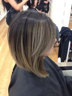 Ashy ombré on short hair ! Asian hair ! Angled bob