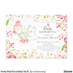 Pink and gold elephant invitation girl elephant birthday invite pretty pink floral baby tea party invitation stopboris Gallery