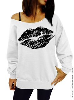 "Use coupon code ""pinterest"" Lips Sweatshirt - Lipstick Kiss - Valentine's Day - White with Black Slouchy Oversized Sweatshirt by DentzDenim"