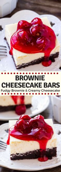 These brownie cheesecake bars are the best of both worlds. The base is a chocolate brownie - either made form scratch or you can use a box mix. Then there's a layer of smooth, creamy cheesecake. The perfect decadent dessert! #browniecheesecake #brownies #cheesecake