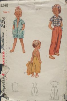 1950s Child's Slacks Pants Shorts Pedal Pushers with by kinseysue