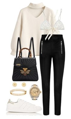 """""""Untitled #387"""" by naomiariel ❤ liked on Polyvore featuring Rolex, Gucci, Hanky Panky, MIANSAI, adidas and Bloomingdale's"""