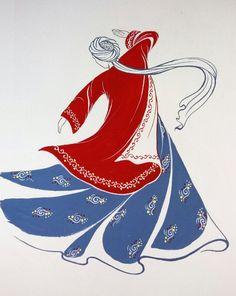 Original Painting Whirling Dervish Sufi Dance Rumi Miniature by AEDesignHouse on Etsy Islamic Art Pattern, Pattern Art, Folk Art Flowers, Flower Art, Painting & Drawing, Fabric Painting, Nemo, Stencils, Iranian Art