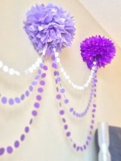 Ombre Pom Pom Garland great for a baby showe or a little girl birthday party Lila Party, Festa Party, Girl Birthday, Birthday Parties, Princess Sofia Birthday, Birthday Ideas, Sofia The First Birthday Party, 21st Birthday, Pom Pom Garland