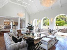 Glamorous living room gray tufted sofas