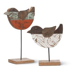 Foreside Home & Garden Mountain House 3 Piece Wooden Carved Bird on A Stand Figurine